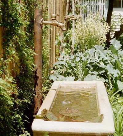 Herb garden water feature